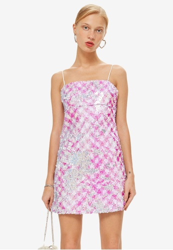 TOPSHOP pink Petite Sequin Slip Mini Dress EF3E6AA8F7F4B9GS_1