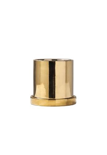 DILAS HOME Metallic Plant Pot (With Tray) - Small E2DC6HLF4CA050GS_1