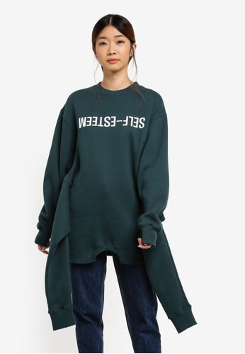 Stylenanda green Lettering Double Sleeve Sweatshirt BD55CAA1CF3635GS_1