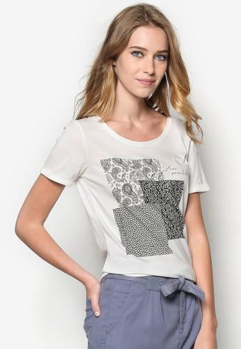 印花短袖TEzalora是哪裡的牌子E, 服飾, T恤
