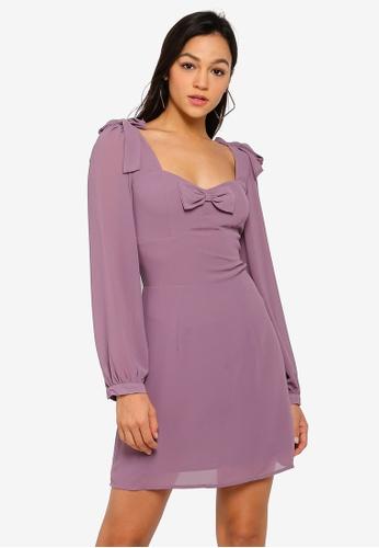 Glamorous purple Puffy Sleeve Sweetheart Dress CA007AAC2BF132GS_1