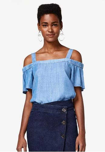 ESPRIT blue Woven Short Sleeve Blouse C227AAAE4141C4GS_1
