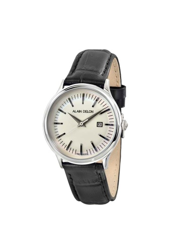 Alain Delon black Alain Delon Women AD353-2312 Black Leather Watch 94E64ACDD4227BGS_1