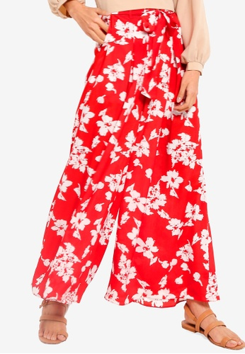 ZALORA white and red High Waisted Pleat Front Pants 2A471AAD5835AFGS_1