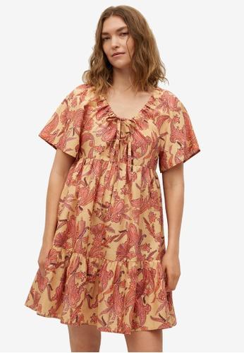 Mango yellow Printed Cotton Dress 2B221AABE8D434GS_1