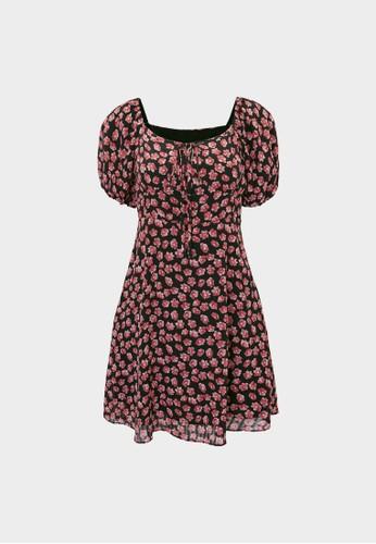 Pomelo black Mini Floral Puffed Sleeves Dress - Black 5E992AA413ADD2GS_1