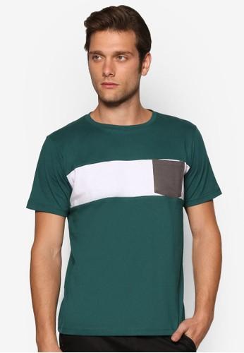 色塊口袋短袖上衣, 服esprit 羽絨外套飾, 素色T恤