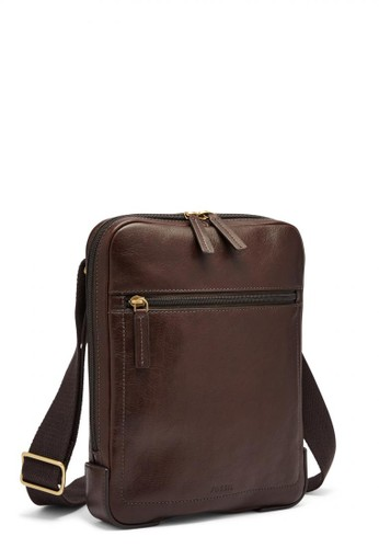 Fossil brown Fossil Haskell Courier Brown Leather Tas Pria [MBG9396-201] DEB4AAC4EDB722GS_1
