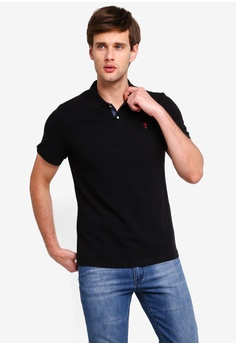 1b0d920d Guess black Embroidered Guess Question Mark Short Sleeve Polo Shirt  86F8BAA40585FAGS_1