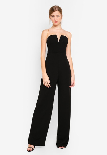 f5cfad4e77d MISSGUIDED black V Bar Wide Leg Jumpsuit C9D1DAAF52AB27GS 1