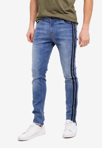 Penshoppe 藍色 緊身窄管抽鬚牛仔褲 9AE2CAA6A4AF31GS_1