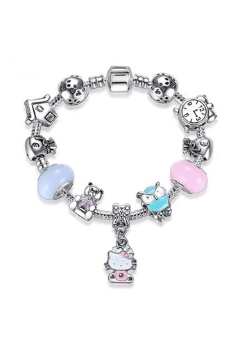YOUNIQ pink and blue and silver YOUNIQ Silver Charm Bracelet with Kitty Pendant Blue Murano Glass Beads Crystal Love Heart - 18cm 32957AC45E84BAGS_1