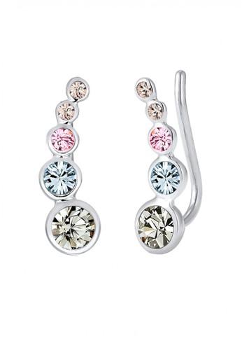 Elli Germany multi Perhiasan Wanita Perak Asli - Silver Anting Cuff Circle Crystal EL948AC0V8VPID_1