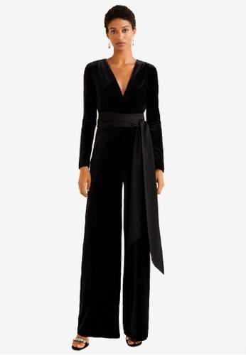Mango black Velvet Long Jumpsuit D2A15AAE4C20BAGS_1