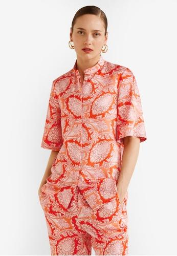 Mango orange Paisley Print Blouse FB33FAAD260373GS_1