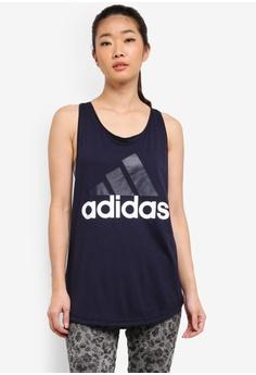 adidas navy adidas ess lin lo tank top AD372AA0SUJPMY_1
