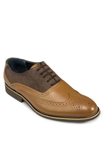 雙色雕花皮鞋,esprit 台灣官網 鞋, 休閒鞋