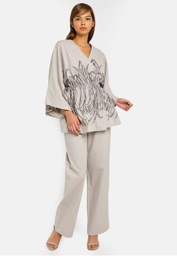 AfiqM grey Lily Printed Pant Suit FC9C2AA9031499GS_1