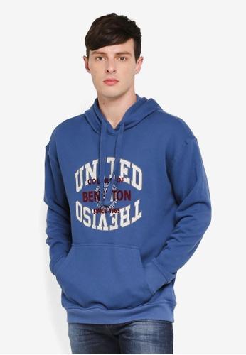 United Colors of Benetton 藍色 美式學院風大學連帽T F2E9DAA31CCC0AGS_1