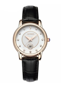 3fc54b10b692 SANDA black SANDA P198 Luxury Genuine Leather Band Date Display Quartz  Dazzling Diamond Women Watch (