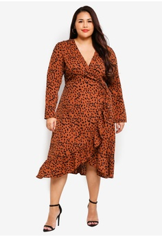 c32ed3ebbf2 MISSGUIDED brown Plus Size Ruffle Wrap Over Midi Dress 83418AA6ED1DF0GS 1