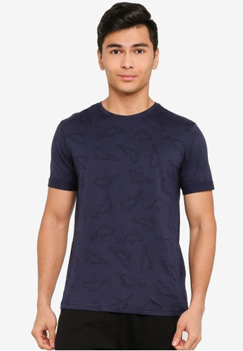 UniqTee navy Dolphin Printed with Folded Cuff Tee 1EBF1AAC77E783GS_1