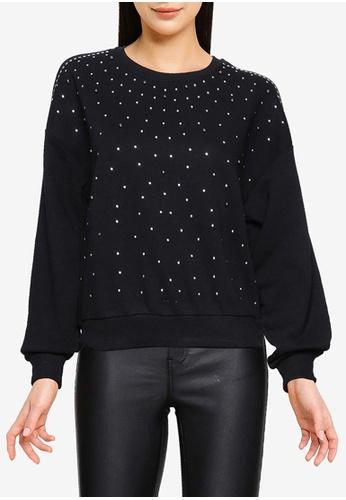 ONLY black Palmer Long Sleeve Embellished Sweatshirt 47DD5AA1A26830GS_1