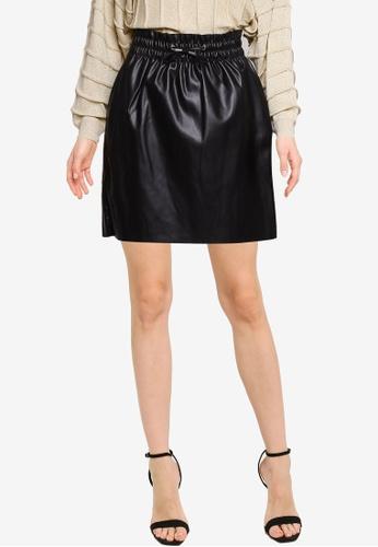 Vero Moda black Ava High Waisted Short Coated Skirt 2C8CBAA65DF419GS_1