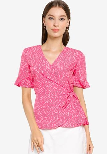 Vero Moda pink Henna 2/4 Wrap Top B465EAAC1ACB66GS_1