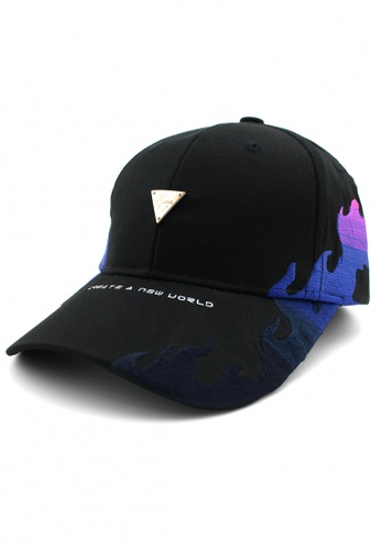 DOSSCAPS black and purple HATER Gradient Flame Cap 010ABAC7461EDBGS_1
