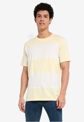 MANGO Man yellow Striped Cotton T-Shirt 9C3D4AAE8E9AF0GS_1