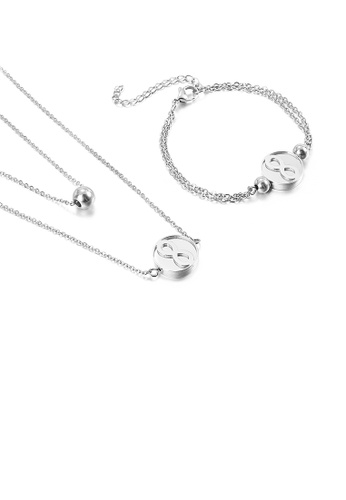 Glamorousky silver Simple and Fashion Infinity Symbol Geometric Round 316L Stainless Steel Double Layer Necklace and Bracelet Set F31A6AC7D82A84GS_1