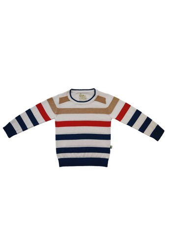 Little Bubba white and red and multi and gold and navy Little Bubba Roller Stripe Sweater Midnight Blue - Sweater Anak - Sweater Bayi E8C20KA511F0C2GS_1