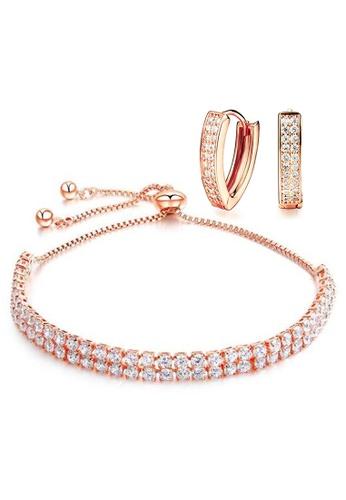 YOUNIQ YOUNIQ 18K Rosegold REC Earrings & GLAMO Bracelet Set ECC5AACB2D70FDGS_1