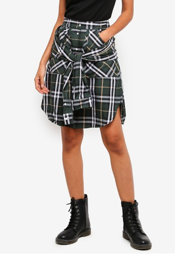 Hopeshow green Checkered Skirt With Tie Belt 91FC2AAF0DF2CBGS_1