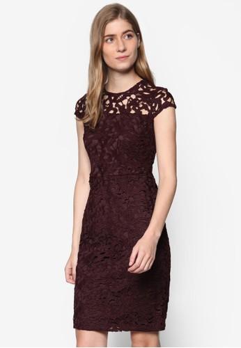 Petite 鏤空花邊esprit tote bag蓋袖連身裙, 服飾, 洋裝