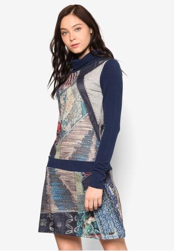 Andromeda 高領混合印花連身裙, 服飾,esprit sg 洋裝
