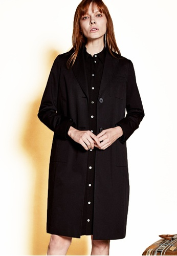 The K Story black Stitched Tailored Coat BB97AAAB25EE8EGS_1