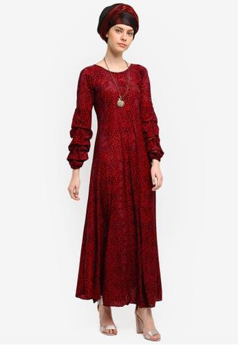 Yans Creation red Exclusive Italian Velvet Dress YA587AA0SKISMY_1