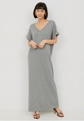 NOA EVERYDAY grey MIYOKO Vneck Long Dress - Grey B333DAAA1612E7GS_1