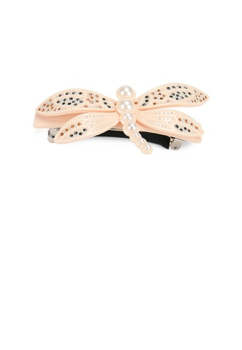 Glamorousky gold Fashion and Simple White Dragonfly Imitation Pearl Hair Slide with Cubic Zirconia 1DBDBACB29D071GS_1
