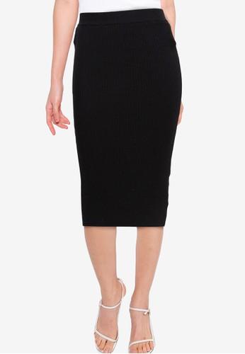 Button On black Knit Midi Skirt 0C6CBAAAC4E786GS_1