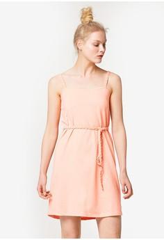 細肩帶綁帶短洋裝