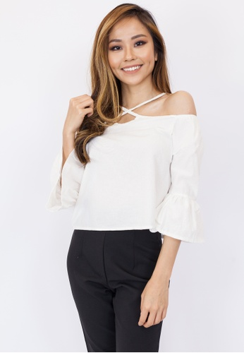 bcacb872229 Buy Hook Clothing Cross Front Off Shoulder Top Online   ZALORA Malaysia