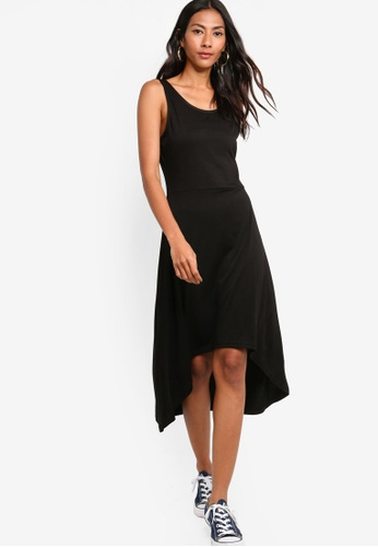 ZALORA BASICS black Basic High Low Jersey Dress F926CAA522B3DEGS_1
