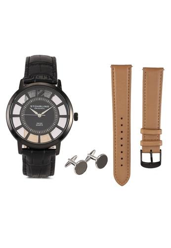 Stuhrling Original black Winchester 388S Watch & Cufflinks Set 4D92AACB248B11GS_1