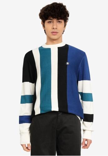 Ben Sherman blue Vertical Stripe Crew Jumper 3C555AA79B49F6GS_1