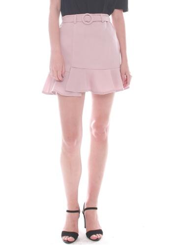 JOVET pink Fluted Hem Skirt 45E6CAA1069289GS_1