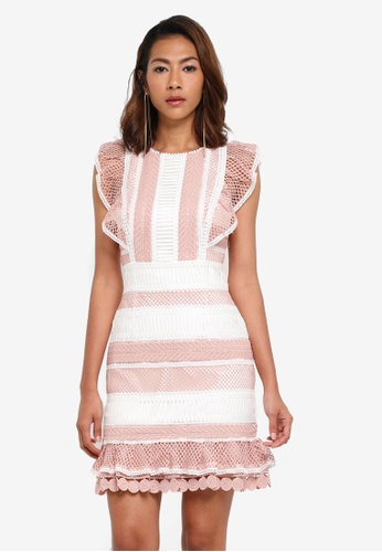 Forever New pink Kingston Lace Frill Dress 9895EAAAE1DE74GS_1