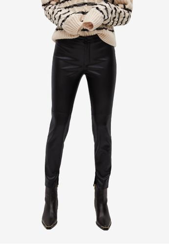 Mango black Slim-Fit Faux Leather Trousers DD5C5AA5E6E679GS_1